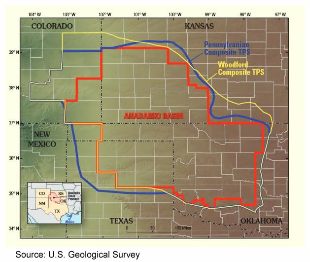 Anadarko Basin Map Courtesy of the USGS